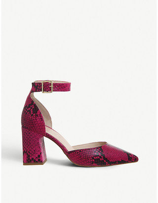 Office Meringue point-toe snakeskin-print leather courts