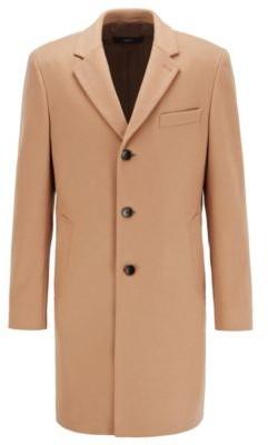 HUGO BOSS Slim Fit Coat In Virgin Wool With Cashmere - Beige
