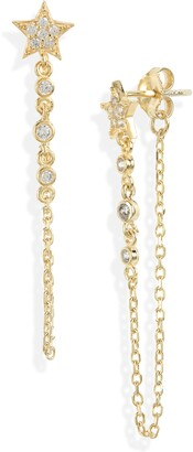 Argentovivo Cubic Zirconia Star Chain Earrings