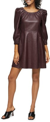 Topshop Balloon Sleeve Faux Leather Fit & Flare Dress