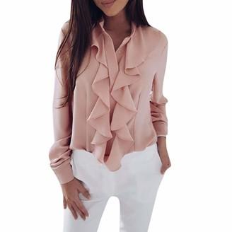 Lazzboy Womens Tops Blouse Long Sleeve Elegant Ruffle Pure Colour Ladies Button Down Office Work Shirt (2XL(16)