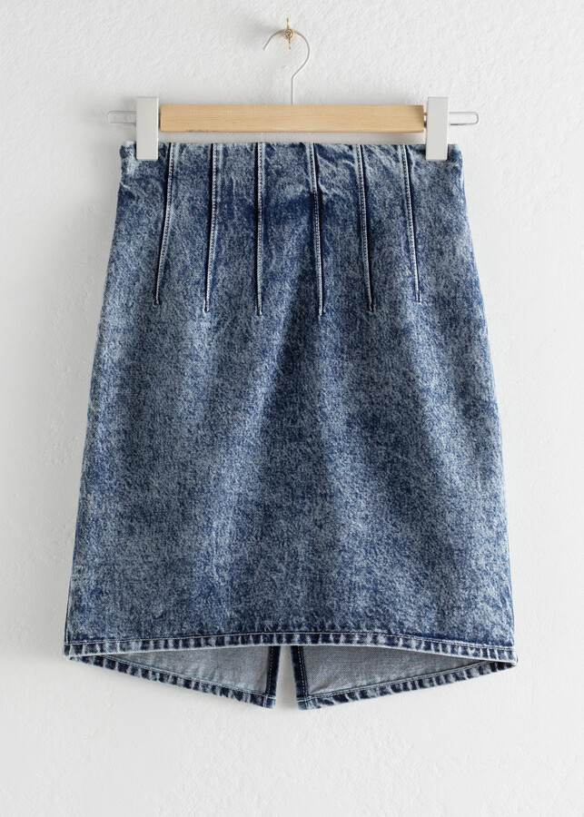 Thumbnail for your product : And other stories Pleated Denim Mini Pencil Skirt