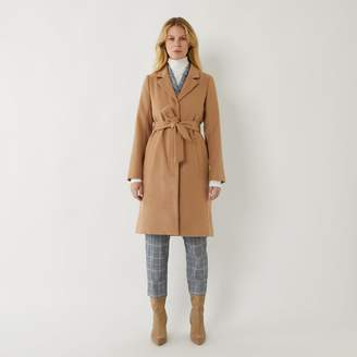 Warehouse CLEAN BELTED WRAP COAT