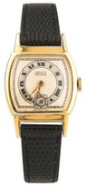 Gruen Gold-Plated Hand-Winding Art Deco With Leather Strap Vintage Womens Watch