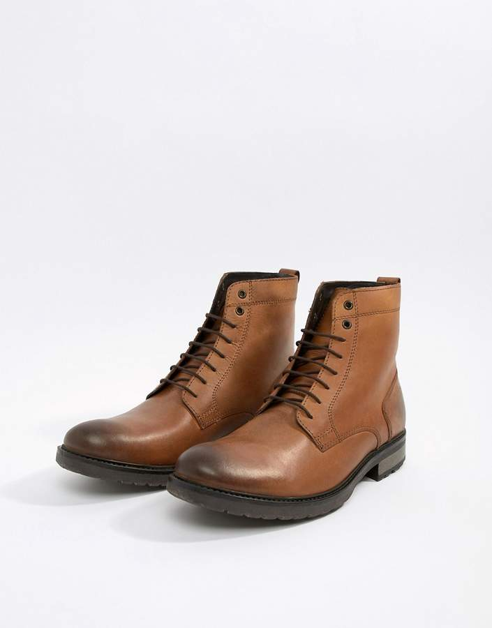 Asos Design Lace Up Boots In Tan Leather With Chunky Sole