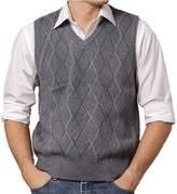 DD.UP Men's Casual Slim Fit Vest Knit V Neck Argyle Pattern Wool Sweater Vest