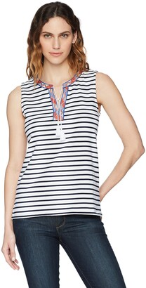 Tribal Women's Tank Top with Embroidered Tape & Tassels