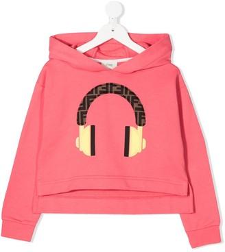 Fendi Kids Headphone Print Hoodie