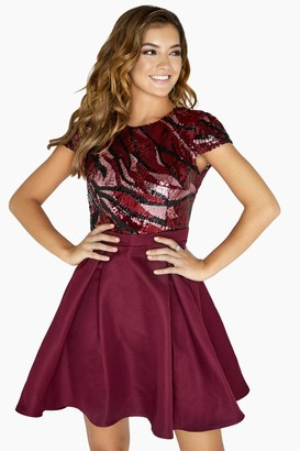 Little Mistress Marcia Patterned Sequin Prom Dress