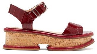 Gabriela Hearst Bradley Eel-print Leather Flatform Sandals - Burgundy