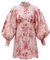 Zimmermann Wavelength Ikat-print Lace Mini Dress - Womens - Pink Multi