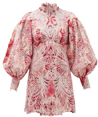 Zimmermann Wavelength Ikat-print Lace Mini Dress - Pink Multi