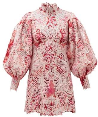 Zimmermann Wavelength Ikat-print Lace Mini Dress - Womens - Pink Multi