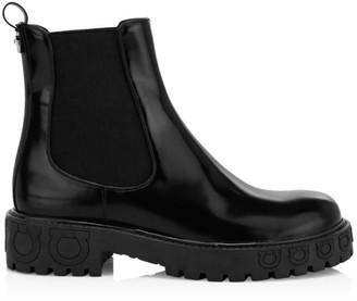 Salvatore Ferragamo Varsi Leather Combat Boots