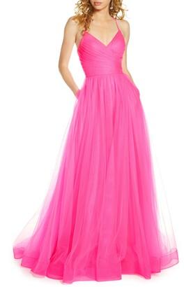 La Femme Neon Light Tulle Gown