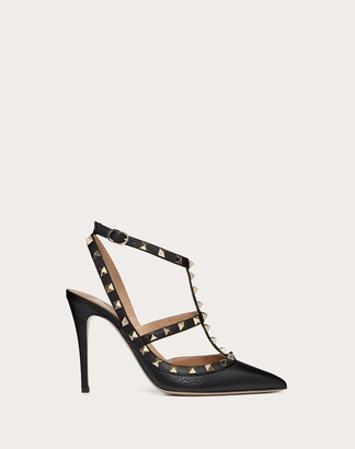 Valentino Garavani Rockstud Grainy Calfskin Ankle Strap Pump 100 Mm Women Black Calfskin 100% 35
