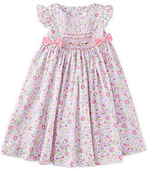 Edgehill Collection Little Girls 2T-4T Floral Flutter-Sleeve Smocked Bow Dress
