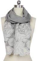 Saachi Oyster Grey Royal Garden Lace Border Wool Wrap
