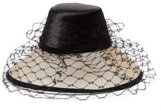 Stephen Jones Screen Embossed Satin And Veiled Crin Hat - Womens - Black