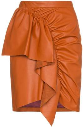 Isabel Marant nela frill trim leather mini skirt