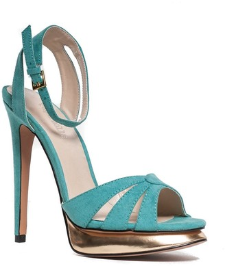 Little Mistress Swimwear Outlet Paper Dolls Turquoise Suede Peep Toe Gold Heeled Sandal