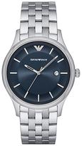 Emporio Armani Ar11019 Date Bracelet Strap Watch, Silver/midnight Blue