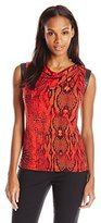 Anne Klein Women's Leather Trim Snake Print Top