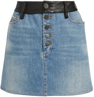 Alice + Olivia Amazing Leather Combo Mini Skirt