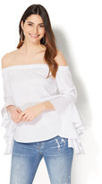 New York & Co. 7th Avenue - Madison Stretch Shirt - Flounced-Sleeve Off-The-Shoulder