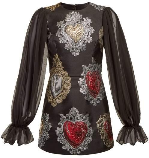 Dolce & Gabbana Sacred Hearts Brocade Mini Dress - Womens - Black Multi