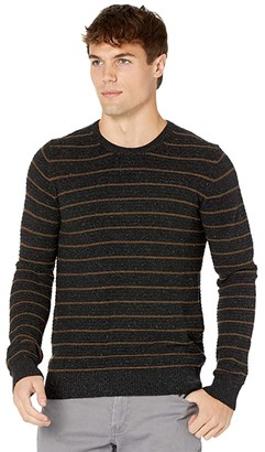 Billy Reid Textured Stripe Crew (Black) Men's Clothing