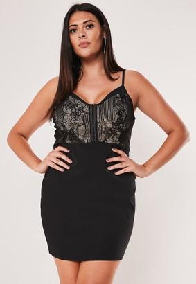 Missguided Plus Size Black Hook & Eye Bodycon Mini Dress