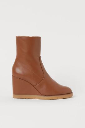 H&M Wedge-heel Boots - Beige
