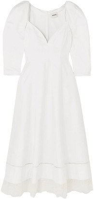 KHAITE Dina Lace-trimmed Cotton-poplin Midi Dress