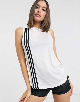 adidas Training tank with 3 stripes in white