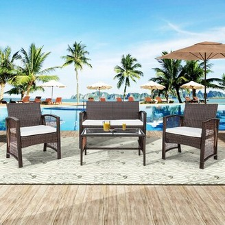 Stodola 4 Piece Rattan Sofa Seating Group with Cushions Highland Dunes Color: Brown