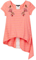 My Michelle mymichelle Embroidered Hi-Lo Asymmetrical Hem Top (Big Girls)
