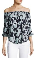 Splendid Floral Cold-Shoulder Top, Navy