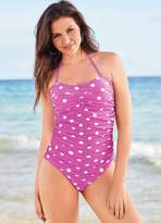 Kaleidoscope Spot Print Ruched Bandeau Swimsuit