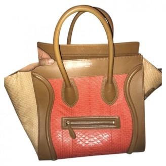 Celine Nano Luggage Orange Leather Handbags