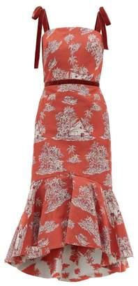 Johanna Ortiz Pueblo Printed Cotton-blend Midi Dress - Womens - Red Multi