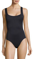 Michael Michael Kors U-Neck Ribbed One-Piece Swimsuit