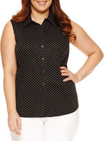 Liz Claiborne Sleeveless Crew Neck Woven Blouse-Plus