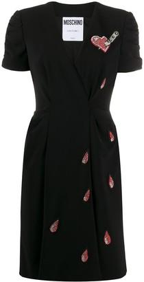 Moschino Beaded Wraparound Knee-Length Dress