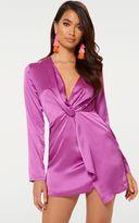 PrettyLittleThing Leopard Print Satin Long Sleeve Wrap Dress