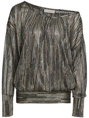 Ramy Brook Dori Long-Sleeve Metallic Top