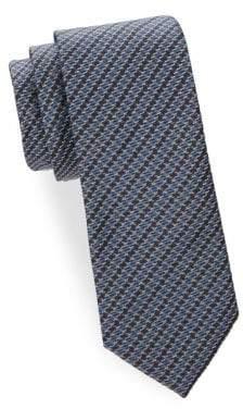 Brioni Diagonal Houndstooth Woven Silk Tie