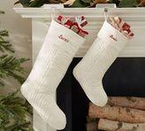 Pottery Barn Channel Quilted Velvet Stocking - Ivory