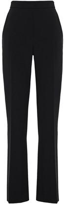 Carolina Herrera Silk Satin-trimmed Crepe Straight-leg Pants