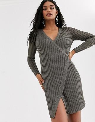 ASOS DESIGN metallic knit wrap dress
